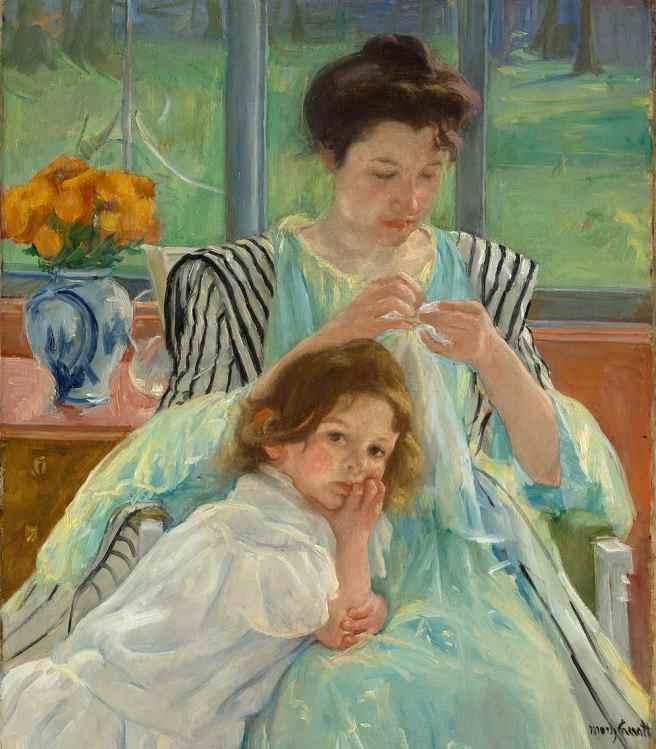 enfants précoces et école -Young_Mother_Sewing_MET_DP139632